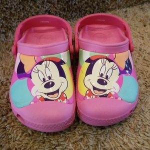 Pink Minnie Mouse Crocs Size C 10/11